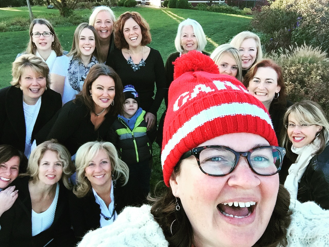 Candid Phone Group Selfie of Circle of Women
